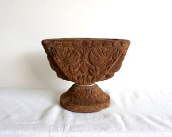 Indian Seeder Antique Wooden Sowing Tool Ethnic Artifact Wooden Pillar Candlestand E3