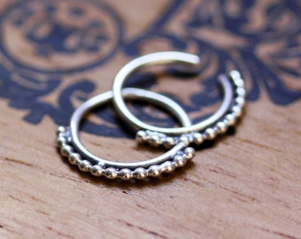 Boho hoop earrings, tiny silver hoop earrings, threader earrings, Silver huggie earrings, henna jewelry, hoop earrings small, ready to ship