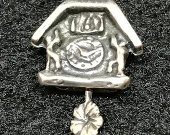 Vintage Cuckoo Clock Charm-Moveable Pendulum ~ Sterling Silver Collectible