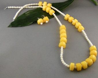 "Yellow Dyed Jade set - ""Lemonhead Delight"""