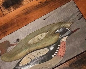Pair of  mergansers painted on reclaimed barn wood