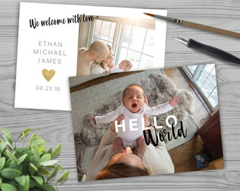 Birth Announcement Template - Hello World Minimal - Gold Heart - Instant Download - FBA1803