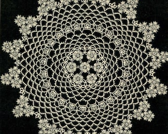 5403 Vintage Tatting PATTERN for Tatted Flower Doily taken from 1950s Workbasket