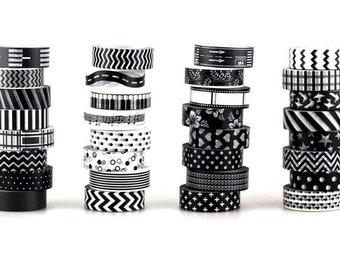 Washi tape black & white, black and white adhesive Washi paper masking tape
