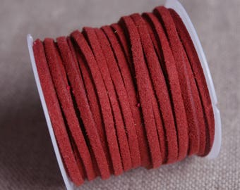 A meter of Burgundy Red suede cord imitation leather - deep red