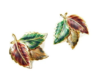 Fall Leaves Earrings Autumn Colors of Rusty Red Green and Brown Wash Over Gold Tone Posts