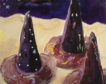 Surreal Halloween Painting - WITCHES HATS - Small Art Format - Original Art by Rodriguez