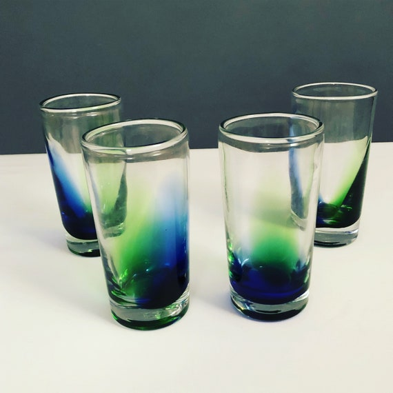 Mid-Century Italian drinking glasses set of 4 green and blue