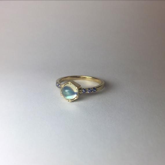 Moonstone Hexagon Ring