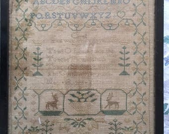 Antique Sampler, Needlework, Mary Burches Circa 1841.  Note on back, this sampler was worked by my mother in 1841, E.S. Simm