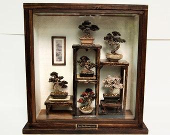 Bonsai Trees set, Vintage miniature Dollhouse 1/12 (BMS08)