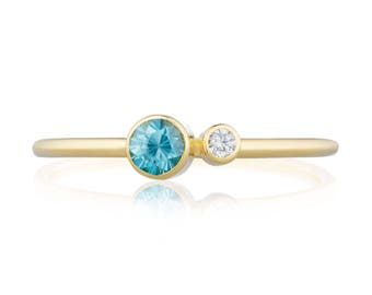 Blue Zircon Diamond Ring, Blue Zircon December Birthstone Ring, 14K Gold Blue Zircon and Canadian Diamond Ring, December Birthstone