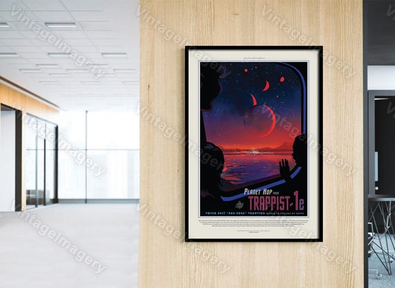 TRAPPIST-1 ExoPlanet 2016 NASA/JPL Space Art Space Travel Poster  Great Gift idea for Kids Room, Office, man cave, Wall Art Home Decor
