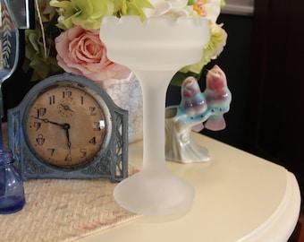 Satin Glass Candleholder, Satin Glass Candle Holder, Satin Glass Candlestick, Frosted Glass Candleholder, Pillar Candleholder
