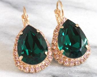 Emerald Earrings, Emerald Drop Earrings, Emerald Swarovski Earrings, Swarovski Emerald Earrings, Bridal Earrings, Bridesmaids Earrings