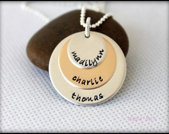Hand Stamped Necklace, Hand Stamped Name Necklace, Silver and Gold Necklace, Three Disc Necklace, Layered Disc Necklace, Stacked Necklace