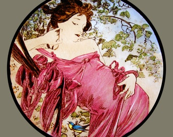 Mucha, Mucha stained glass, Mucha Seasons, kilnfired stained glass, Mucha  roundel, stained glass fragment, art nouveau, summer, Mucha glass
