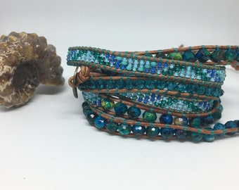 Handmade leather wrap bracelet blue