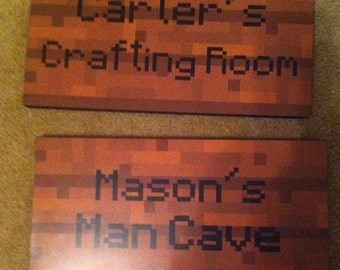 """Minecraft Inspired Foam backed  Signs - 8 """" x 16"""" -"""