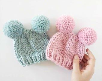 Double Pom Pom Hat // Baby Pom Pom Hat // Newborn Photo Prop // Baby Shower // Pom Pom Hats for Kids // Valentine's Day