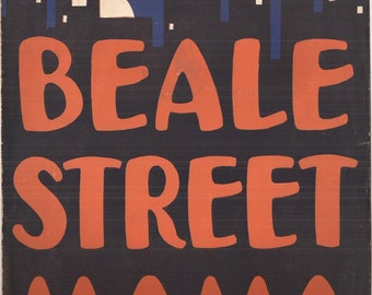 Beale Street Mama, Vintage Sheet Music, Music and Lyrics, Beale Street, Memphis, Tennessee, Blues Music Venue, Blue and Orange Cover Art
