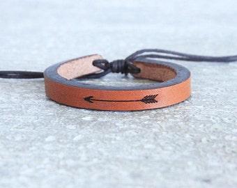 Leather Bracelet- Women's Leather Bracelet - Men's Leather Bracelet - Men's Leather Cuff - Women's Leather Cuff- stacked bracelets - arrow-