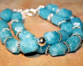 TROY Aquamarine, Bali and Sterling Bracelet