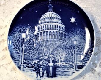 "Small Bing & Grondahl Christmas in America Series, 1990, ""Christmas Eve at the Capital, Cobalt Blue Copenhagen Porcelain."