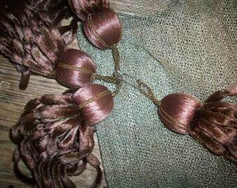 Chocolate silk antique chenille tassels