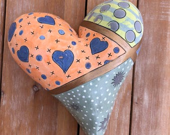 Heart Shaped Ceramic Wall Hanging - Love - Mother's Day - Whimsical Original Ceramic Art by Edrian Thomidis