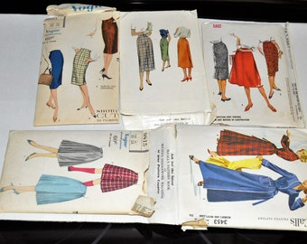 Vintage Sewing Patterns Lot 1950's Vogue 9605 McCAll 8258 McCall's 4634 Vogue 9815 McCalls 3453 UNCUT Skirts Robes