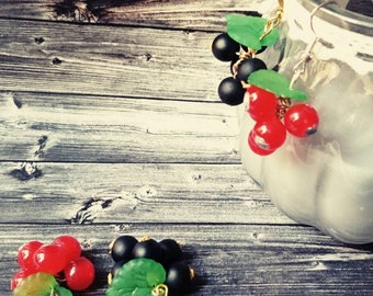 Earrings-red or black currant-handmade