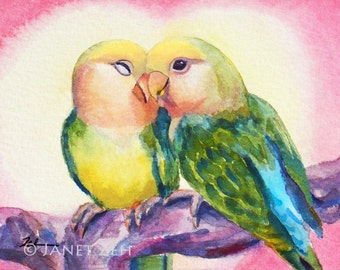 Love Birds Print Printed Wall Art Watercolor Lovebird Wall Decor Couples Gift Anniversary Gift by Janet Zeh Zehland
