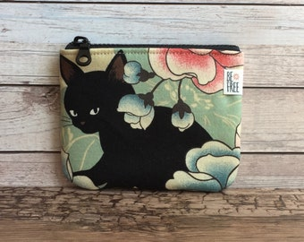 Cat Coin Purse, Black Cats Floral Japanese Fabric Handmade Zipper Pouch, Zippered Wallet, Change Bag, Earbuds Case, Gift Card, Cat Lover