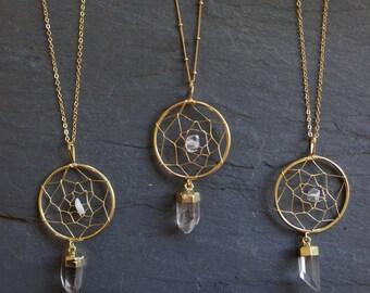Dream Catcher Necklace / Quartz Necklace / Boho Necklace / Gold Quartz Necklace / Crystal Necklace / Gold Quartz Pendant