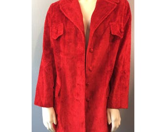 1960s Red Chenille Fuzzy Red Jacket Carpet Coat Betty Rose