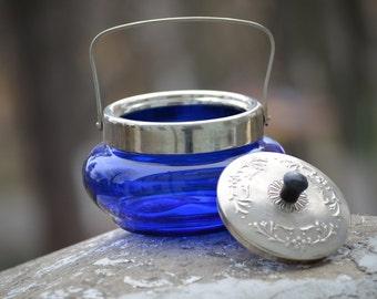 Blue sugar jar, Lidded glass Jar, jam Cookie Jar, Cobalt blue Bowl, Bowl with Metal Lid, blue kitchen decor, kitchen containers