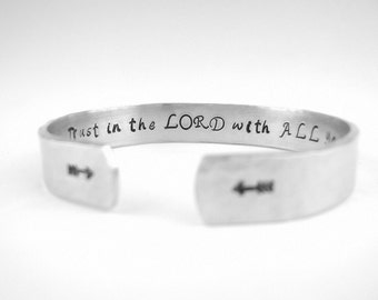 Trust in the Lord bracelet, Proverbs 3:5 Christian jewelry, Bible Verse Cuff Bracelet, Scripture Jewelry Gift for Women