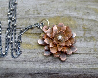 Garden Flower . Copper . Chrysanthemum. Handmade . Fine Silver . Rustic . Earthy . Boho .