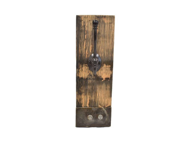 Authentic Bourbon Whiskey Barrel Stave Coat Hanger With Metal Band Accent