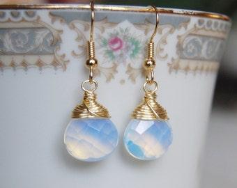 Opalite Earrings , Gold White Earrings , October Birthstone Earrings , Opal Glass Earrings