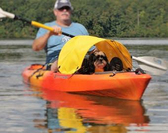 Dog paddling sun shade for kayaks, canoes and SUPs (yellow)