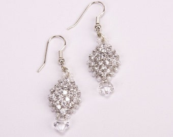 Sparkling Swarovski Crystal, Silver and Pearlized White Earrings with Swarovski Crystal Drops. Diamond Shaped Bridal Beaded Earrings S125