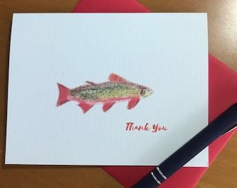 Illustrated Cards, Brook Trout Cards, Thank You Cards, Set, Fly Fishing, Trout Fishing, Tight lines, Note Cards, Stationery
