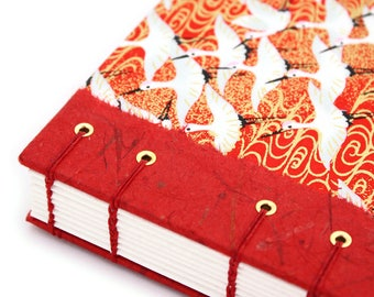 Coptic Journal - Lay Flat Journal - Unlined Journal - Red and Gold Cranes - Japanese Chiyogami Paper - 160 Pages - handmade by Ruth Bleakley
