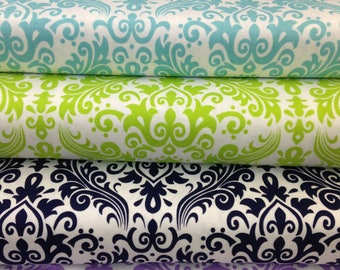 Medium Damask fabric by Riley Blake, Christmas fabric, lime green navy blue black lavender purple aqua blue, sold by the yard