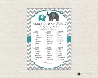 Elephant Whats in Your Purse Shower Game - Whats In Your Purse Baby Shower Game, Printable Baby Shower Games, Teal - Printable, DIY