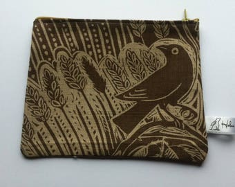 Mark Hearld bird print linen Wash bag brown and beige, pencil case, student gift, gift for her, teacher gift, Christmas gift