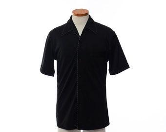 Vintage 70s Joel Black Disco Shirt 1970s Short Sleeve Polyester Pimp Shirt Prom Retro Dance Party Shirt / mens M