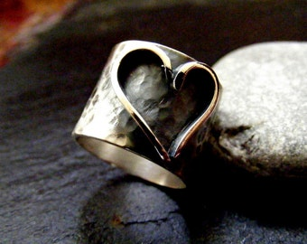 Silver Statement Heart Rustic ring  Sterling Statement wide band heart ring